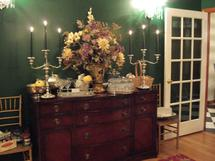 The formal dining room at the Mane House